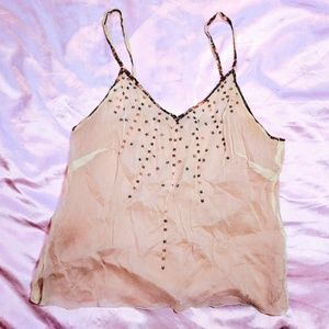 77ab339a984696 Tops - Rose gold star sequins flowy chiffon nude tank